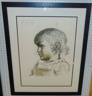 "Pablo Picasso Limited Edition Lithograph  Framed Limited Edition Lithograph by Pablo Picasso (1881-1973). Titled ""Portrait d'Enfant"", from the 1982 Marina Picasso Collection. Pencil signed and numbered. Limited edition number 446 of 500. Measures 36-3/4"" tall x 29-3/4"" wide. Condition is very good. No Damage. Starting Bid $50. Auction Estimate $120 - $150."