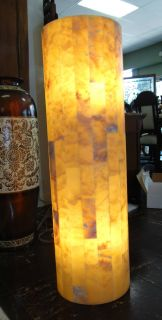 """Contemporary Onyx Stone Backlit Pedestal Lamp Large, Contemporary Onyx Stone Backlit Pedestal Lamp. Art Deco Style. Measures 39"""" tall x 11-1/2"""" wide. Condition is New, Mint. No Damage. Several Shipping Options Available. Starting Bid $50. Auction Estimate $300 - $500."""