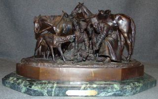 "Nicolas Liberich ""Hunting Party"" C. F. Woerffel Bronze  Antique Russian Bronze Sculpture on a Marble Base after Nicolas Ivanovich Liberich (1828-1883). Titled ""Hunting Party"". Signed and has ""C.F. Woerffel"" & ""St.Petersburg"" Foundry Marks. Measures 11"" tall x 18"" wide x 14"" deep. Weight is over 50 lbs. Overall condition is good. Wear consistent with age. Several Shipping Options Available. Starting Bid $500. Auction Estimate $3,500 - $4,500."