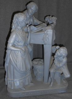 "Rare Antique Chalk Sculpture by John Rogers (1829-1904) Antique School Room Scene Chalk Sculpture by John Rogers (American 1829-1904). Titled ""The Favored Scholar"". Measures 16"" wide x 11"" deep x 22"" tall. Condition is fair to good. No Damage. Several Shipping Options Available. Starting Bid $50. Auction Estimate $80 - $100."