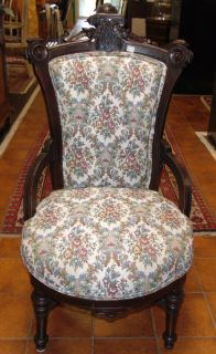 """Antique East Lake Victorian Side Chair Antique East Lake Victorian Upholstered Side Chair. Measures 38"""" tall x 20"""" wide x 22"""" deep. Overall condition is good. Wear consistent with age and use. Several Shipping Options Available. Starting Bid $50. Auction Estimate $70 - $100."""