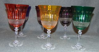 """6 Multi-Color Bohemian Cut Crystal Wine Glasses Beautiful Set of 6 Multi-Color Bohemian Cut to Clear Crystal Wine Glasses. Heavy and high quality European Leaded Crystal. Each measures 7-1/2"""" tall x 4"""" wide at rim. Condition is New, Mint. No Damage. Includes Fitted and lined Gift Box. Several Shipping Options Available. Starting Bid $50 for all 6. Auction Estimate $150 - $250."""