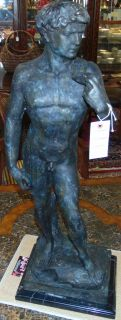 "Bronze Sculpture of David on a Black Marble Base Fabulous Bronze Sculpture of David on a Black Marble Base. Measures 36"" tall"". Very Heavy. This Sculpture is made entirely from Bronze with a Marble Base. Artist Signed. Condition is New, Mint. No Damage. Several Shipping Options Available. Starting Bid $50. Auction Estimate $600 - $750."