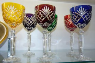 "6 Multi-Color Bohemian Cut to Clear Crystal Wine Glasses Beautiful Set of 6 Multi-Color Bohemian Cut to Clear Crystal Wine Glasses. Heavy and high quality European Leaded Crystal. Each measures 8-1/2"" tall. Condition is New, Mint. No Damage. Includes Fitted and lined Gift Box. Several Shipping Options Available. Starting Bid $50 for all 6. Auction Estimate $200 - $250."