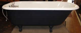 """Vintage Standard Sanitary Porcelain Claw Foot Bath Tub Antique """"Standard Sanitary Manufacturing Company"""" Porcelain Enameled Cast Iron Claw foot Bathtub. Marked Standard Sanitary Mfg. Co. Baltimore. Circa 1926. Includes chrome hardware. Measures 60"""" long x 24"""" tall x 31"""" wide. Overall condition is good. Wear consistent with age and use. Several Shipping Options Available. Starting Bid $50. Auction Estimate $300 - $500."""