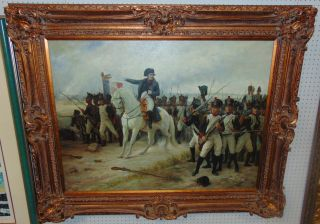 "Large Napoleon Bonaparte Oil Painting Large Napoleon Bonaparte Oil on Canvas Painting. Artist signed. Frame measures 49"" tall x 61"" wide. Condition is very good. No damage. Several Shipping Options Available. Starting Bid $50. Auction Estimate $450 - $600."