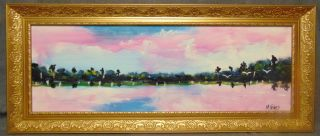 """Original Florida Highwayman Painting by Michael Sears Original, modern-day Florida Highwayman painting by contemporary artist, Micheal Sears. Large Oil on Masonite. Nicely framed. Artist Signed. Measures 19"""" tall x 45"""" wide. Condition is very good. No Damage. Michael Sears (1962- present) is 2nd generation trained by George Buckner Jr. Original member, and personally influenced by the several other members of this art movement with whom he interacted. He remains true to Highwaymen subject, style, materials and outdoor selling methods. Several Shipping Options Available. Starting Bid $50. Auction Estimate $200 - $250."""