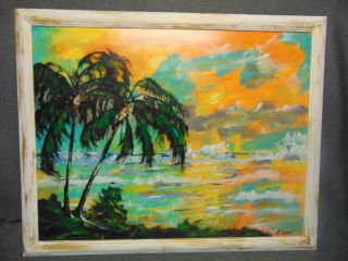 """Original Florida Highwayman Painting by Michael Sears Original, modern-day Florida Highwayman painting by contemporary artist, Micheal Sears. Large Oil on Masonite. Nicely framed. Artist Signed. Measures 29-1/2"""" tall x 37-1/2"""" wide. Condition is very good. No Damage. Michael Sears (1962- present) is 2nd generation trained by George Buckner Jr. Original member, and personally influenced by the several other members of this art movement with whom he interacted. He remains true to Highwaymen subject, style, materials and outdoor selling methods. Several Shipping Options Available. Starting Bid $50. Auction Estimate $200 - $250."""