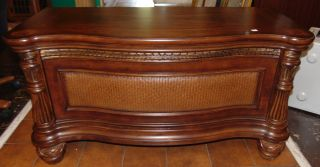 "Inlaid and Cedar Lined Trunk Inlaid and Cedar Lined Trunk. Measures 24"" tall x 45"" wide x 19"" deep. Condition is Like New. Very good. No Damage. Sticker on back marked Outlook International Ltd. Several Shipping Options Available. Starting Bid $50. Auction Estimate $100 - $150."
