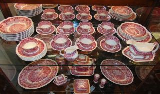 "49 pieces Mason's English Red Transferware Dish Set Large Collection of Vintage ""Mason's"" English Red & White Transferware Dishes. 49 pieces. Vista Pattern. Overall condition is very good. Some ware. Several Shipping Options Available. Starting Bid $50. Auction Estimate $200 - $300."