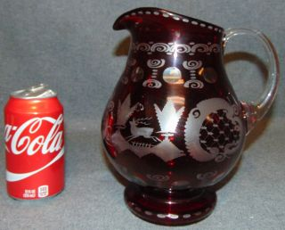 """Vintage Ruby Cut to Clear Crystal Pitcher Vintage Ruby Red, Cut to Clear Crystal Pitcher. Bohemian style. Measures 8-1/2"""" tall. Condition is Like New. Very good. No Damage. Several Shipping Options Available. Starting Bid $50. Auction Estimate $80 - $100."""