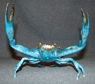 """Bronze Blue Crab Sculpture Artist Signed Bronze Blue Crab Sculpture. Artist Signed and numbered 23 of 50. Measures 7-1/2"""" wide. Condition is New, Mint. No Damage. This Sculpture is made entirely from Bronze. Several Shipping Options Available. Starting Bid $30. Auction Estimate $70 - $120."""