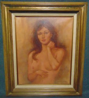 """Original Oil Nude Severo Enrique Zavaleta Beautiful Nude Oil Painting on Canvas by Severo Enrique Zavaleta (20th century). Born in Bolivia in 1932, Severo Zavaleta studied art at the Andres University in La Paz. He also studied one-on-one with revered South American artists such as Rimsa and Solon Romero of Bolivia, Jaime Carvalho of Rio de Janeiro, and Augusto Iriarte. Frame measures 27"""" tall x 23"""" wide. Condition is very good. No damage. Several Shipping Options Available. Starting Bid $50. Auction Estimate $80 - $150."""