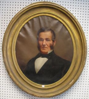 """Antique Oil Painting Portrait Antique Oil Painting Portrait and Frame. 19th Century. Unsigned. Measures 36"""" tall x 32"""" wide. Overall condition is good. Wear consistent with age and use. Several Shipping Options Available. Starting Bid $50. Auction Estimate $100 - $150."""