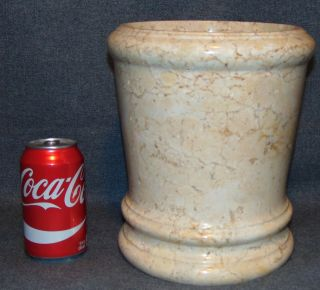 """Large Turned Marble Vase Turned Cream Colored Marble Vase. Measures 9-3/4"""" tall x 8-1/2"""" wide. Condition is very good. No Damage. Several Shipping Options Available. Starting Bid $50. Auction Estimate $80 - $150."""