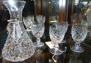 """Waterford Crystal Carafe & 4 Glasses Waterford Crystal """"Lismore"""" Carafe & 4 Waterford """"Avoca"""" Wine Glasses. Condition is Like New. Very good. No Damage. Several Shipping Options Available. Starting Bid $50. Auction Estimate $100 - $150."""