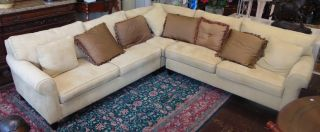 """Havertys 3 piece Beckett Sectional Sofa Haverty Furniture Companies 3 piece Upholstered """"Beckett"""" Sectional Sofa. Measures 9 feet wide x 9 feet wide x 32"""" tall. Condition is Excellent. Like new. No damage. Several Shipping Options Available. Starting Bid $50. Auction Estimate $450 - $700."""