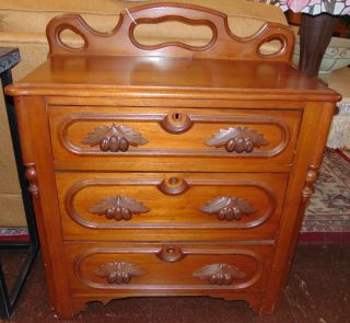 """Antique Walnut Chest of Drawers Small Antique Walnut Chest of 3 Drawers. Measures 34-1/2"""" tall x 30"""" wide x 15"""" deep. Condition is very good. Wear consistent with age and use. No Damage. Several Shipping Options Available. Starting Bid $30. Auction Estimate $80 - $100."""