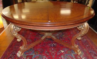"Large Antique 6 Feet Round Center Table Large & Fabulous Antique 6 Feet Round Dining or Center Table. Measures 32"" tall x 6' wide. Overall condition is good with minor wear. Several Shipping Options Available. Starting Bid $100. Auction Estimate $1,200 - $1,500."