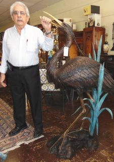 "Giant Bronze Heron Fountain Sculpture Giant Bronze Heron Fountain Sculpture. High Quality Bronze Fountain with excellent Detail and various shades of patina. Bronze may be used indoor or outdoor. Measures 63-1/2"" tall x 44"" wide. Heavy piece. Condition is New, Mint. No Damage. This Sculpture is made entirely from Bronze. Several Shipping Options Available. Sculpture functions as a fountain feature as well and is pre-Fitted to accept Water Pump for Fountain Feature. Serious inquires Please contact us. Click on Picture to see additional photos."