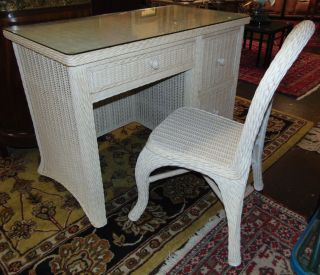 "Wicker 3 Drawer Writing Desk and Chair Glass top Wicker 3 Drawer Writing Desk and Chair. Desk measures 32"" tall x 44"" wide x 22-1/2"" deep. Condition is good. No damage. Several Shipping Options Available. Starting Bid $50. Auction Estimate $80 - $90."
