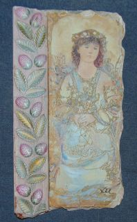 "Signed Edna Hibel Plaster Fresco Style Plaque Signed Edna Hibel Plaster Fresco Style Plaque. Measures 16"" tall x 8-1/2"" wide. Condition is very good. No damage. Several Shipping Options Available. Starting Bid $30. Auction Estimate $60 - $80."