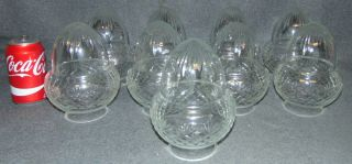 """Set of 9 Vintage Cut Glass Globe Shades Set of 9 Vintage Cut Glass Globe Shades. Each measures 7"""" tall x 5"""" wide. Opening is 3"""" wide. Condition is very good with minimal wear. No Damage. Several Shipping Options Available. Starting Bid $50 for all. Auction Estimate $60 - $80."""