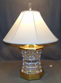 "Contemporary Lucite & Brass Table Lamp Contemporary Lucite & Brass Table Lamp with shade. Measures 33"" tall x 24"" wide. Condition is good. No damage. Several Shipping Options Available.  Serious inquires Please contact us. Click on Picture to see additional photos."