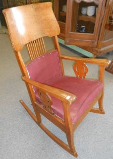 "Antique Oak Rocking Chair Antique Oak Rocking Chair. Circa 1900. Measures 42"" tall x 24"" wide. Condition is good with some minor wear and scratches typical from age. Several Shipping Options Available. Starting Bid $30. Auction Estimate $40 - $50."