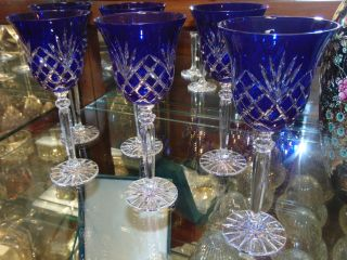 """6 Cobalt Blue Bohemian Cut Crystal Wine Glasses 6 Cobalt Blue Bohemian Cut Crystal Wine Glasses. Heavy and high quality European Leaded Crystal. Each measures 8-3/4"""" tall x 3-3/4"""" wide at rim. Condition is New, Mint. No Damage. Includes Fitted and lined Gift Box. Several Shipping Options Available. Starting Bid $50 for all 6. Auction Estimate $150 - $250."""