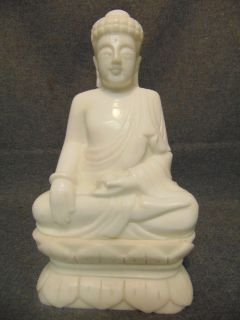 """Jade Stone Quan Yin Sculpture White Jade Stone Quan Yin Sculpture. Measures 10-1/2"""" tall x 6-1/4"""" wide. Condition is Excellent, Mint. No Damage. Several Shipping Options Available. Starting Bid $50. Auction Estimate $150 - $250."""