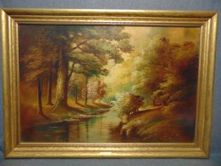 "Vintage Landscape Oil Painting signed Durant Vintage Landscape Oil Painting signed ""Durant"". Frame measures 29"" tall x 41"" wide. Condition is very good with minimal wear. No damage. Several Shipping Options Available. Starting Bid $50. Auction Estimate $80 - $250."