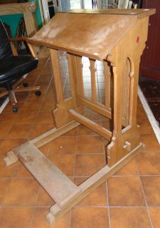 """Antique Gothic Oak Church Kneeler Antique Gothic Oak Church Kneeler with Lift-Top Storage Drawer. Measures 35"""" tall x 25"""" wide x 32"""" deep. Overall condition is good. Wear consistent with age and use. Several Shipping Options Available. Starting Bid $50. Auction Estimate $60 - $120."""