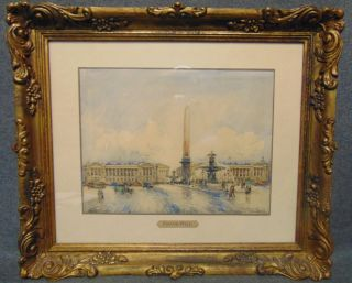 """Original Watercolor Painting by Frank Will Original Watercolor Painting under Glass of Paris, France. Circa 1930's. Signed by Frank Will (French 1900-1951). AKA Frank William Boggs or Frank-Will. Frame measures 15-3/4"""" tall x 18-1/2"""" wide. Condition is very good. No damage. Several Shipping Options Available. Starting Bid $1,000. Auction Estimate $2,000 - $2,500."""