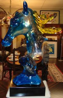 """Acrylic Horse Head Sculpture on Black Marble Base Large, Multi Color Acrylic Horse Head Sculpture. Beautiful Clear,Yellow and Blue tinted Acrylic on a thick Black Marble Base. Unsigned. Measures 36-3/4"""" tall. Marble base measures 4"""" tall x 14"""" wide x 12"""" deep. Condition is New, Mint. No Damage. Several Shipping Options Available. Starting Bid $1,000. Auction Estimate $1,500 - $1,800."""