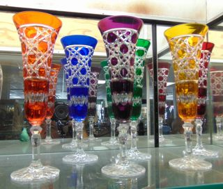 """6 Multi-Color Bohemian Cut Crystal Champagne Glasses Beautiful Set of 6 Multi-Color Bohemian Cut to Clear Crystal Champagne Glasses. Heavy and high quality European Leaded Crystal. Each measures 9"""" tall. Condition is New, Mint. No Damage. Includes Fitted and lined Gift Box. Several Shipping Options Available. Starting Bid $100 for all 6. Auction Estimate $150 - $250."""