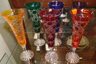 """6 Multi-Color Bohemian Cut Crystal Champagne Glasses Beautiful Set of 6 Multi-Color Bohemian Cut to Clear Crystal Champagne Glasses. Heavy and high quality European Leaded Crystal. Each measures 9"""" tall. Condition is New, Mint. No Damage. Includes Fitted and lined Gift Box. Several Shipping Options Available. Starting Bid $150 for all 6. Auction Estimate $150 - $250."""