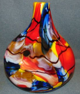 "Murano Inspired Multi Color Art Glass Vase Fabulous, Murano Style Multi Color Art Glass Vase. Measures 14-1/4"" tall x 12"" wide. Condition is Like New. Very good. No Damage. Several Shipping Options Available. Starting Bid $50. Auction Estimate $60 - $80."