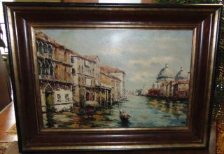 """Original Impressionist Venice Oil Painting Original and Beautiful Impressionist Venice Oil on Canvas Painting. Artist Signed. Frame measures 34-1/2"""" tall x 46-1/2"""" wide. Condition is good. No damage. Several Shipping Options Available. Starting Bid $50. Auction Estimate $200 - $300."""