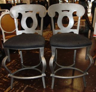 """Pair (2) of Bar Stools Pair (2) of Aluminum Bar Stools. Deco Style. Each stands 41"""" tall x 20-1/2"""" wide x 25"""" deep. Overall condition is fair to good. Wear consistent with useage. Some surface scratches. Several Shipping Options Available. Starting Bid $30 for both. Auction Estimate $40 - $60."""