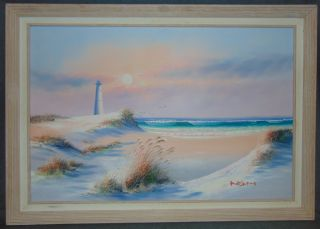 """Original Lighthouse Seascape Oil Painting by K Wilson Original, Framed Lighthouse and Seascape Oil Painting on Canvas by K. Wilson. Artist signed. Frame measures 29"""" tall x 41"""" wide. Overall condition is Excellent. No Damage. Several Shipping Options Available. Several Shipping Options Available. Starting Bid $50. Auction Estimate $60 - $100."""