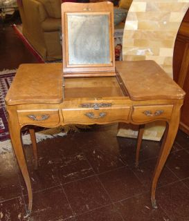 """Antique French Country Provincial Vanity Dressing Table Antique French Country Provincial Petite Flip Mirror Top Vanity Dressing Table. Measures 27-1/2"""" tall x 27-1/2"""" wide x 13"""" deep. Overall condition is good with minor wear. Several Shipping Options Available. Starting Bid $80. Auction Estimate $100 - $150."""