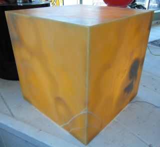 "Large Contemporary Onyx Stone Backlit Pedestal Cube Large, Contemporary Onyx Stone Backlit Pedestal Cube. Each lamp is very unique, hand crafted in Mexico and is truly a work of art. Art Deco Style. Measures 20"" tall x 20"" wide x 20"" deep. Condition is New, Mint. No Damage. Several Shipping Options Available. Several Shipping Options Available. Starting Bid $200. Auction Estimate $300 - $400."