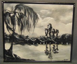"""Original Florida Highwayman Painting by Michael Sears Original, modern-day Florida Highwayman painting by contemporary artist, Micheal Sears. Large Oil on Masonite. Nicely framed. Artist Signed. Measures 25"""" tall x 29"""" wide. Condition is very good. No Damage. Michael Sears (1962- present) is 2nd generation trained by George Buckner Jr. Original member, and personally influenced by the several other members of this art movement with whom he interacted. He remains true to Highwaymen subject, style, materials and outdoor selling methods. Several Shipping Options Available. Starting Bid $50. Auction Estimate $100 - $120."""