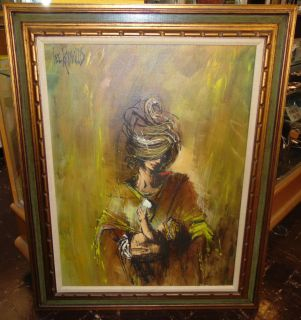 """Original Lee Reynolds Mid Century Oil Painting Large, Framed Original Mid Century Oil on Canvas Painting by Lee Reynolds. Brutalist Abstract Mother and Child. Artist Signed. Measures 50-1/2"""" tall x 40"""" wide. Overall condition is Excellent. No Damage. Starting Bid $100. Auction Estimate $100 - $150."""