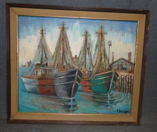 """Original Oil Painting by Florence Krieger (1919-2011) Original Oil on Canvas Painting by Listed Artist Florence Krieger (1919-2011). Titled """"Cape Cod"""". Frame measures 23-3/4"""" tall x 27-1/2"""" wide. Condition is good. No Damage. Florence Krieger is a well listed and exhibited Brooklyn artist who worked in a variety of mediums. Recipient Purchase award Art Students League, 1965, Salmagundi Club prize, 1980, Knicherbocker Artists award, 1988. Member Allied Artists American, Catherine Lorillard Wolfe Art Club, American Artist Professional League, Knickerbocker Arts, National Art Club, Riverside Museum. Starting Bid $150. Auction Estimate $250 - $350."""