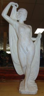 "Antique Carved White Marble Figure by Franceschi Beautiful Antique Carved White Marble Figure of a Woman by Franceschi. Late 19th Century. Base is signed. Measures 31-1/2"" tall. Overall condition is good. Previously damaged and Professionally repaired (see close-up photos). One finger is missing. Several Shipping Options Available. Starting Bid $500. Auction Estimate $800 - $1,000."