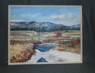 "Original Joe Horton Landscape Painting Framed Original Oil on Linen Painting by listed Artist Joe Horton. Lovely Landscape Titled ""Melting Snow - Eagle Nest"". Artist signed and dated April 1989. Frame measures 23-1/2"" tall x 29-1/2"" wide. Overall condition is Excellent. No Damage. Starting Bid $50. Auction Estimate $100 - $150."