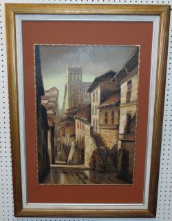 """Original Oil Painting by Santos Leina Framed, Original Oil Painting of an old town by Santos Leina. Signed and dated 95. Measures 41"""" tall x 30"""" wide. Condition is good. No damage. Several Shipping Options Available. Starting Bid $50. Auction Estimate $80 - $120."""