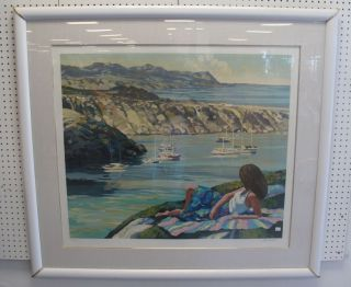 """Howard Behrens Signed Limited Edition Serigraph Large Framed and Matted Howard Behrens Limited Edition Serigraph. Pencil Signed and numbered. Measures 45-1/2"""" tall x 50-1/2"""" wide. Condition is good. No Damage. Several Shipping Options Available. Starting bid $50. Auction Estimate $50 - $70."""
